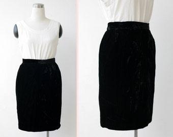 Free Shipping. Black Velvet Skirt Large, High Waist Knee Length Black Skirt L
