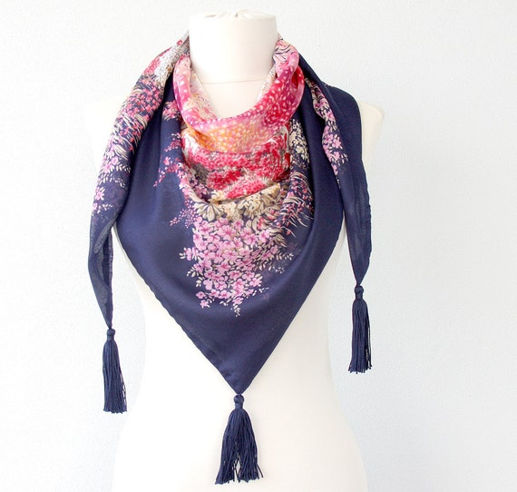 CECILY boho scarf summer scarves navy blue pink scarf floral scarf tasseled scarf lightweight scarf womens fashion scarf trendy accessories