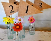 TABLE NUMBERS 1-10 Hessian Burlap Table Numbers Flag Pennant Banner Wedding Engagement Party Celebration Decoration 1-10