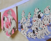 101 DALMATIONS Disney Vintage Little Golden Book Bunting Children Paper Party Decoration nursery story book banner eco friendly re-purposed