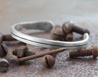 Mens Silver Bracelet Line Bangle Personalised Bracelets