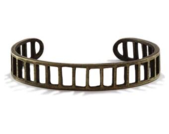 Mens Gold Cuff Bars Bracelet Bangle Jewelry