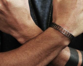 Mens Black Cuff Oxidized Bracelet Bars Bangle Jewelry