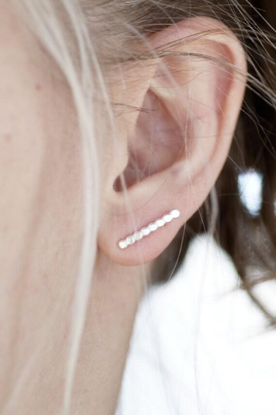 Sterling Silver Beaded Texture Post Earrings