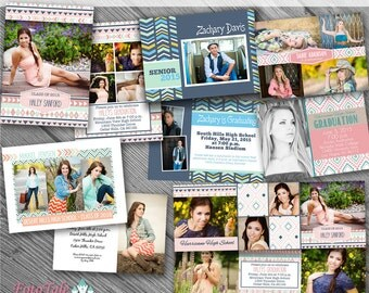 Aztec Summer Graduation Announcement COLLECTION- 5 custom photo templates for photographers 4- 5x7 and 1-5x5 trifold