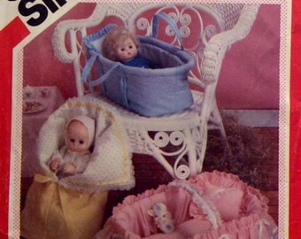 """Vintage Sewing Pattern Carriers for Dolls up to 18"""" Long Basket Bassinett Cradle Bunting 1983"""