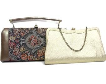 Vintage Evening Bag, Gold Glitter Purse, Tapestry Purse,  Vintage Glitter Clutch, Vintage Tapestry Clutch, Glitter Handbag, Tapestry Handbag