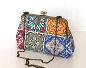 Ethnic design,patchwork, tiles, shoulder bag,purse,hand bag,clutch