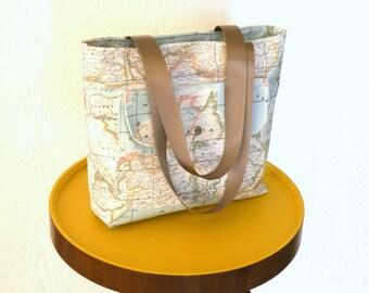 World map printed  shoulder bag,diaper bag,everyday bag,tote bag