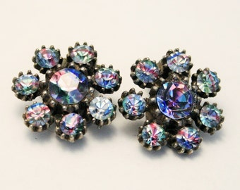 Vintage earrings. Iris glass earrings. Rainbow crystal earrings. Clip on earrings