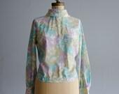 Vintage 1960s Shirt - 60s Blouse - Color Run Blouse