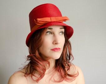 60s Hat - Vintage 1960s Bucket Hat - Color Punch Hat