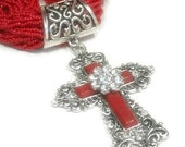 Red Cross Necklace - Multistrand - Beaded - Southwest - Cowgirl - Chunky - Layered - Ornate Cross - Statement - Cross Jewelry