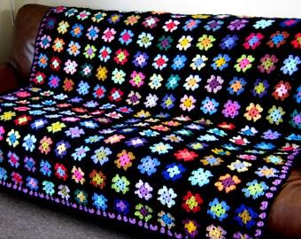 Retro Crocheted Granny Squares BLANKET Afghan BETTY