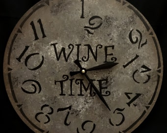 12 inch WINE TIME Wall CLOCK with Jumbled Numbers in Bold Shades of Gray and Charcoal