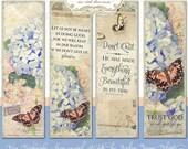 Print Your Own Bible Bookmarks Don't Quit, Digital E15-18B watercolor hydrangeas butterfly butterflies scripture verse encouragement art