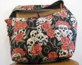 SKULL BAG - Cross Body Bag - Goth Bag - Skull Purse - Hippie Bag - Large Bag - Boho Bag - Skull and Roses - Day of the Dead - Slouch Bag
