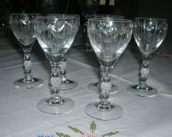 6 Vintage Duncan Miller 503 Cordials Circa 1950's Gray Cut Dots Leaf and Vertical Lines, Ball Stem