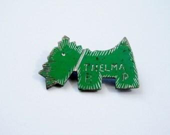 "Vintage 1930s Pin / Scottie Dog Pin / 1930s Brooch / Novelty Pin / Name Pin ""Thelma"" / Jadeite Green Pin / Dog Brooch / Scotty Dog Pin"