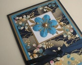 Blue, Turquoise, and Gold Floral Chiyogami Washi Greeting Card Blank Inside