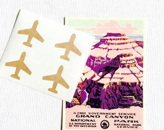 Airplane Stickers / Labels - Gold foil, Kraft or White