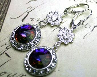 ON SALE - Crystal Halo Earrings in Purple - OOAK -Long Swarovski Crystal Earrings in Helio - Sterling Silver Leverbacks