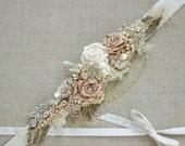 Bridal sash, Burlap belt, Rustic sash belt, Gold Blush Rose Champagne wedding belt, Narrow thin Vintage bridal sash, Floral bridal belt