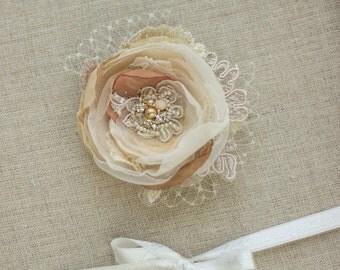 Wedding hair flower, Bridal hair flower, Wedding hair piece, Bridal hair piece, Bridal hair accessories, Gold, Blush, Wedding hair flower