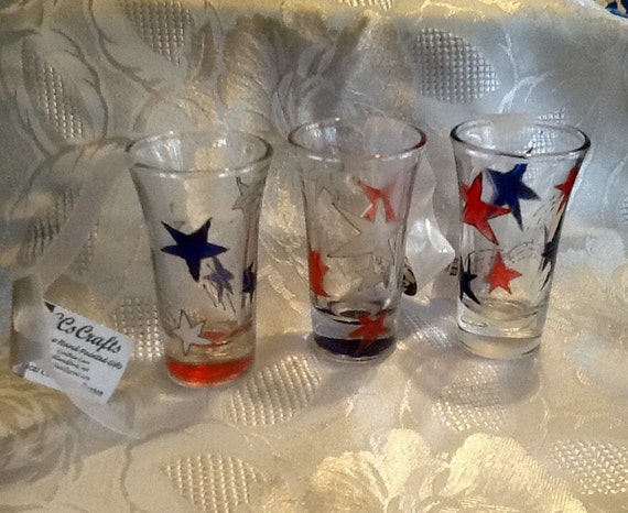Super Shots Sale Shot Glass Hand Painted Red White Blue Stars