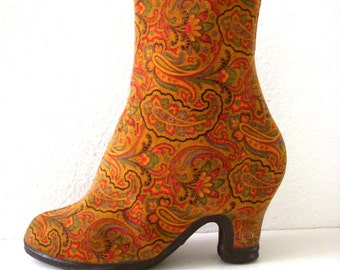 Vintage Paisley Rain Boots - 50s  Velveteen Overshoes by Ball-Band - 1940s 1950s Paisley Galoshes - Cuban Heel Ankle Boots - Size 5