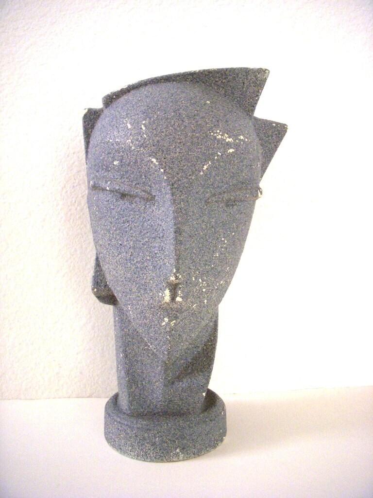 Stunning Vintage 80s Gray Abstract Ceramic Head Sculpture