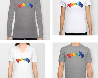Elephant Rainbow adult t-shirt, mens fitted tee, womens fitted tee, v neck, long sleeved