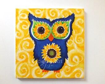 Acrylic Painting, Owl with Sunflower Eyes, Whimsical Wall Art, Nursery Art, Office Art, Owl Art