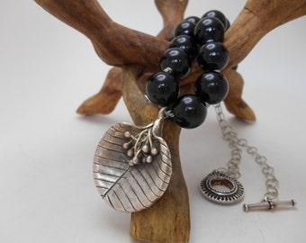 Thai silver leaf pendant necklace