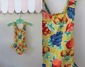 50% OFF...last call // vintage girl's swimsuit - FRUIT PUNCH yellow one piece bathing suit / 2T