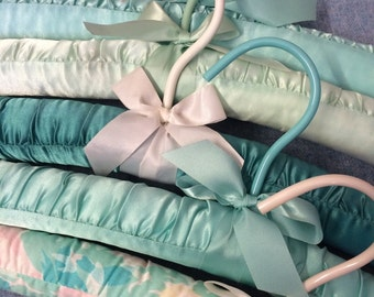 Set of 5 Aqua blue green seafoam Plush Hangers - Lingerie Hangers