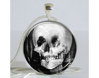 All Is Vanity Pendant with Chain Art Pendant Picture Pendant Resin Pendant