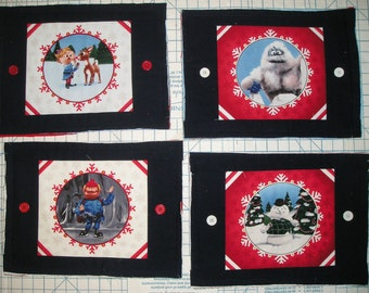 Rudolph Fabric Placemats - Set of Four - Four Options - Cotton Front and Three Layers of Flannel - Rag Style