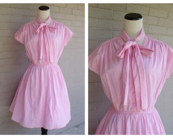 Vintage 1950's Pink Bow Elastic Waist Swing Pin up Rockabilly Dress Size Large L