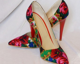 Stiletto Shoes in platok fabric handmade Stiletto Red shoes Russian Stiletto Flower pavlovo Pumps Shoes
