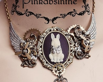 Rococo steampunk necklace Bunny Aviator tattoo necklace