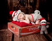 Photo Prop Sock Monkey Diaper Сover and Hat Set Newborn Photography Newborn Boy Set Baby Picture Props for Newborn Baby Photo Prop Crochet