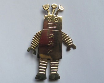 metal robot brooch with 3 antenna