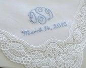 Bridal Accessories: Wedding Handkerchief, White German Plauen Lace Handkerchief Style No. 40737 with Classic 3-Initial Monogram