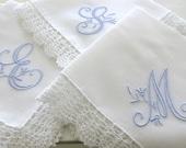 Peony Design 1-Initial Monogrammed Handkerchief
