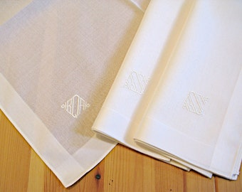 Mens Monogrammed Handkerchiefs Gift Set of 3 Fine Ivory Cotton Men's Initialed Handkerchiefs
