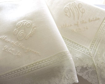 Wedding Handkerchief  for Mother of the Bride on Ivory Color Irish Linen Lace Handkerchief with 3-Initial Monogram and Date