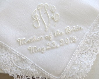 Wedding Handkerchiefs: Irish Linen Wedding Handkerchief with 3-Initial Monogram Hankerchiefs, Mother of the Bride and Date