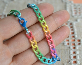 Craft Chain 3 Feet Steel Colored  8.7x6.7mm Curb Links rainbow