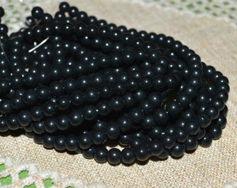 66pcs 6mm Black Obsidian Natural Gemstone Beads 16 Inches Strand